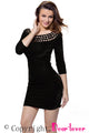 Sexy Black Hollow Out Round Neck Sleeved Velvet Dress
