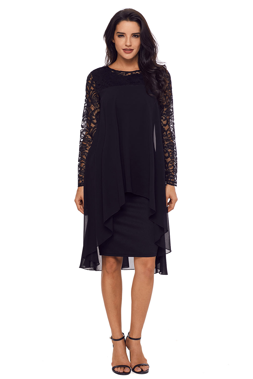 7e2f2451bfab Sexy Black Lace Long Sleeve Double Layer Midi Dress – SEXY AFFORDABLE  CLOTHING