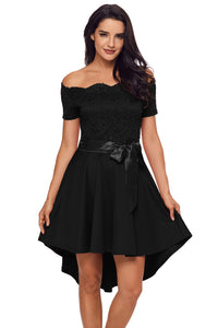 Sexy Black Lace Off Shoulder Dip Hem Prom Dress