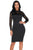 Sexy Black Lace Sleeve Doll Collar Bodycon Retro Midi Dress