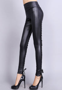 Sexy Black Lace Up Back Stretch Leather Leggings