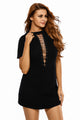 Sexy Black Lace Up Half Sleeves Tee Dress