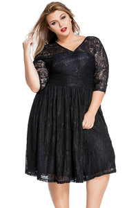 Sexy Black Lace V Neck Curvy Skater Dress