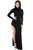 Sexy Black Long Sleeves Side Split Slit Jesery Maxi Dress