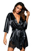 Sexy Black Luxurious Satin Robe Nightwear