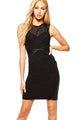 Sexy Black Mesh PU Insert Sleeveless Bodycon Dress