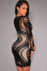 Sexy Black Plus Lace Nude Illusion Long Sleeves Bodycon Dress