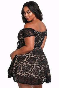 Sexy Black Plus Size Floral Lace Flared Off Shoulder Dress