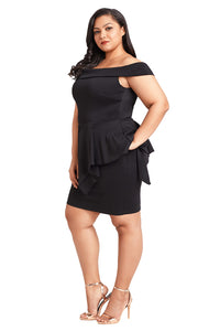 Sexy Black Plus Size Fold Over Off Shoulder Peplum Dress