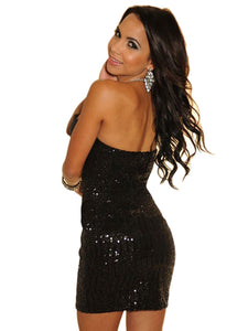 Sexy Black Sequined Strapless Mini Dress