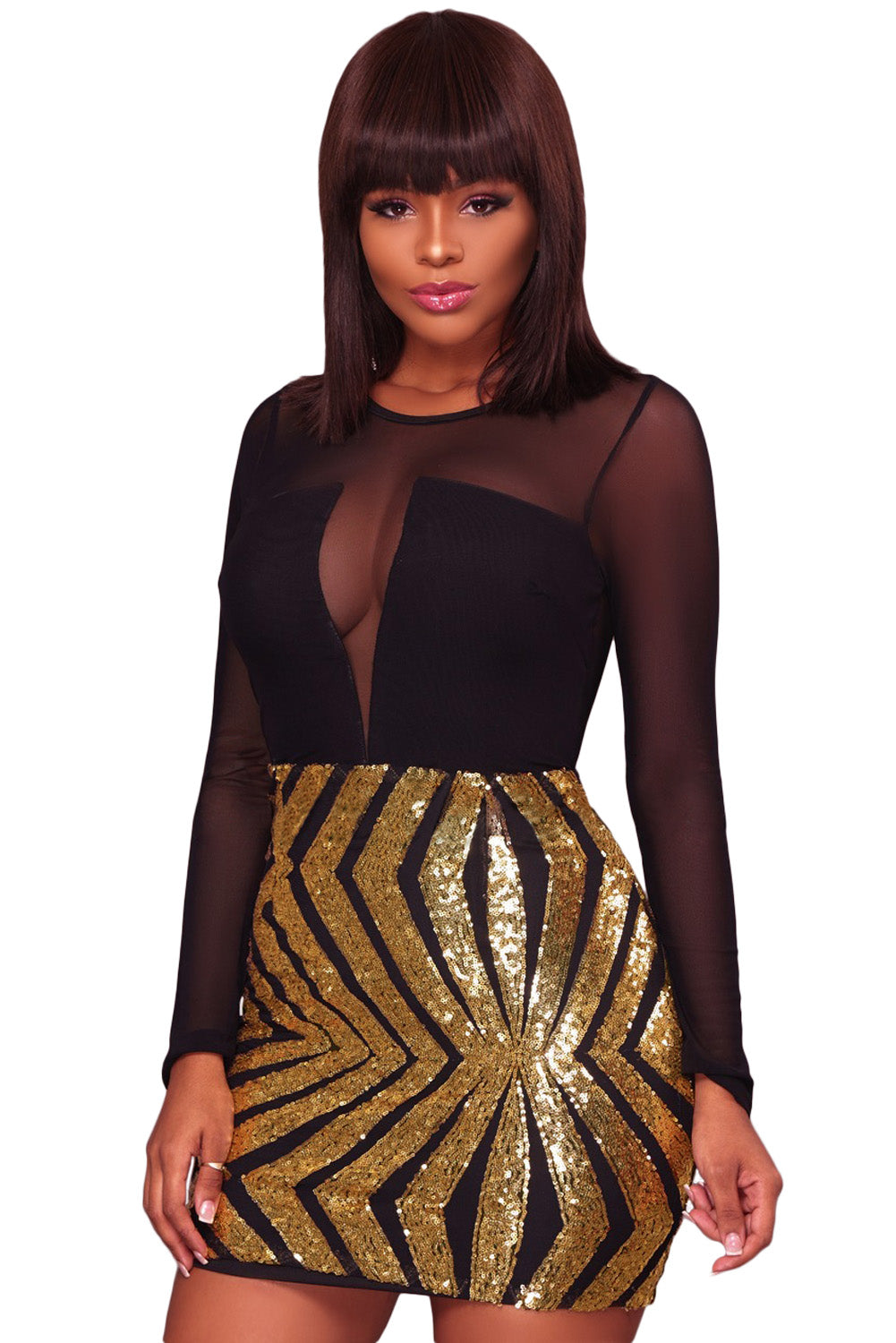 baaedffba46 Sexy Black Sheer Mesh Long Sleeve Gold Sequin Club Dress – SEXY AFFORDABLE  CLOTHING