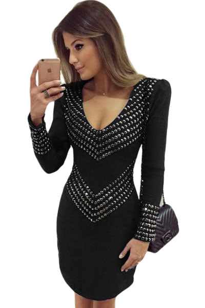 7217161e8a4 Sexy Black Studded Long Sleeve Mini Dress – SEXY AFFORDABLE CLOTHING