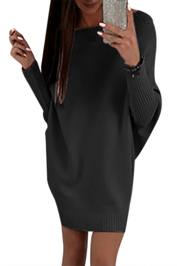 bb7c35e3c9 Sexy Black Stylish Long Sleeve Baggy Sweater Dress – SEXY AFFORDABLE ...