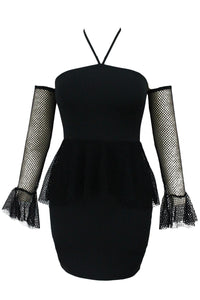 Sexy Black Tulle Peplum Dress with Oversleeves