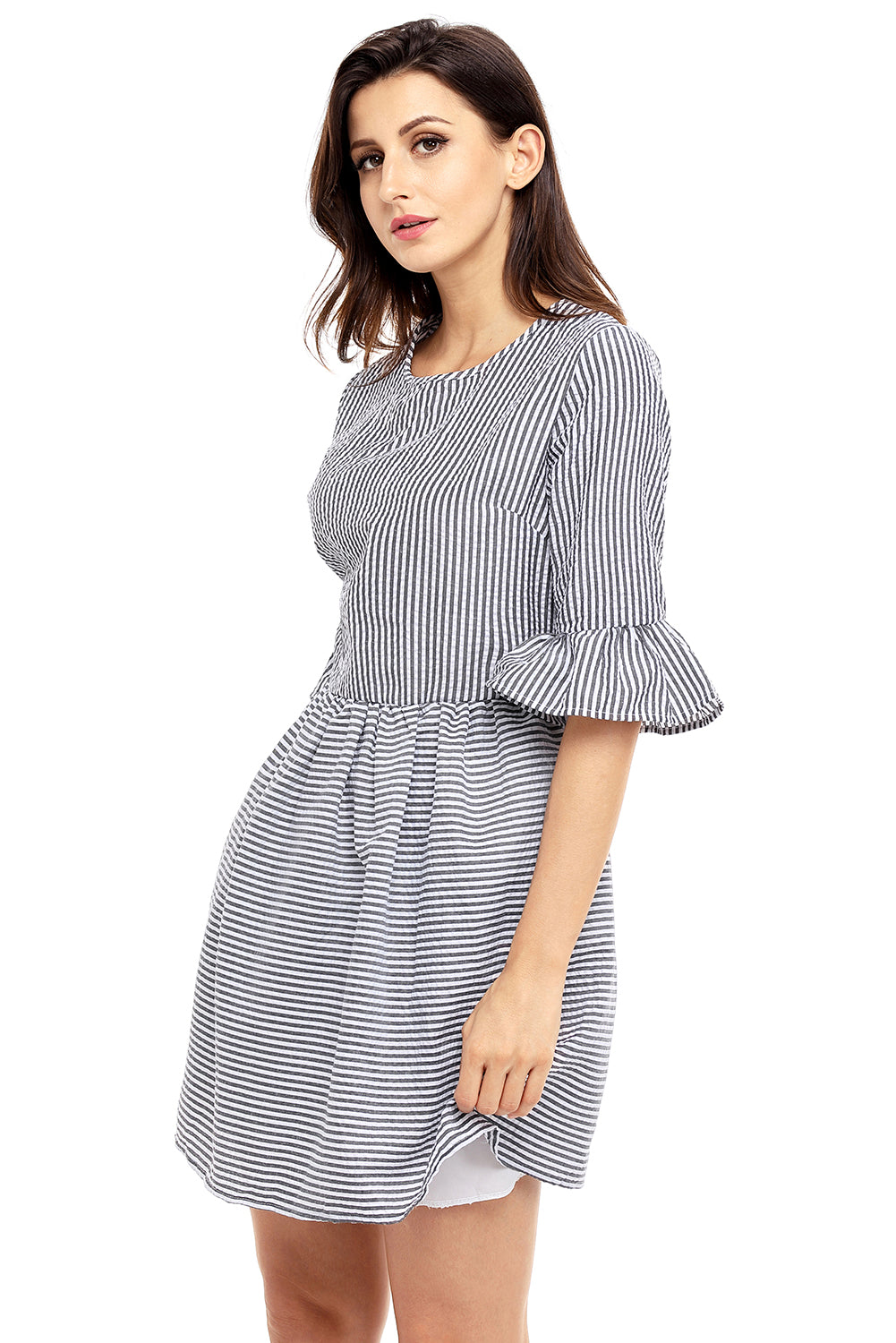 e64b2f6af11 Sexy Black White Stripe Flounce Sleeve Seersucker Dress – SEXY AFFORDABLE  CLOTHING