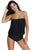 Sexy Black Wirefree Blouson Tankini 2pcs Swimsuit
