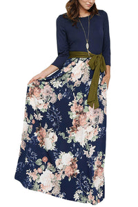 Sexy Blooming Floral Navy Bohemian Maxi Dress