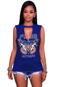 Sexy Blue Freely Slash Butterfly Print Tank Top