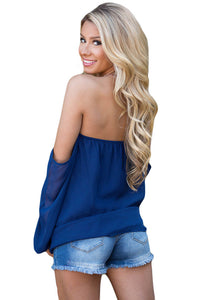 Sexy Blue Off The Shoulder Blouse