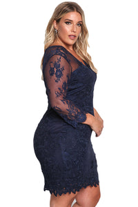 Sexy Blue Plus Size Floral Lace Embroidered Dress