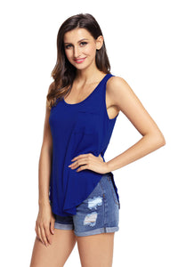 Sexy Blue Summer Side Slits Tank Top with Pocket