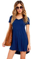 Sexy Blue Trendy Sweetheart Neck Pocket Shirt Dress
