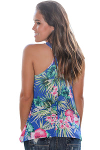 Sexy Blue Tropical Print Flowy Tank Top