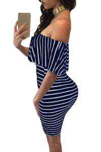 Sexy Blue White Striped Off-shoulder Bodycon Dress