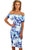 Sexy Blue and White Floral Bardot Bodycon Midi Dress