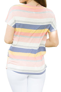 Sexy Bright Striped Short Sleeve T-shirt