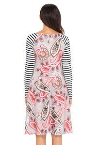Sexy Brown Paisley Print Stripe Raglan Sleeve Dress