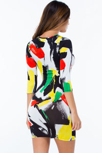 Sexy Brush Aside Print Bodycon Dress