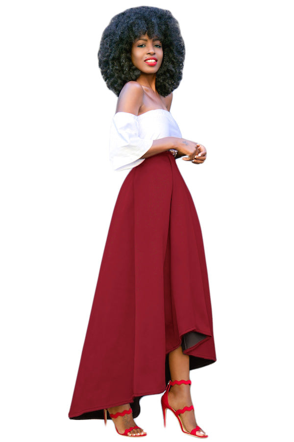 4b61722bac Sexy Burgundy Asymmetric High-Low Hem Maxi Prom Skirt – SEXY ...