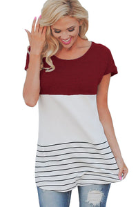 Sexy Burgundy Color Block Striped Long Top