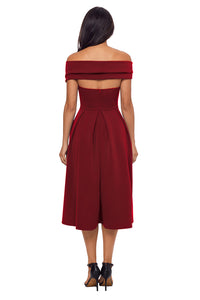 Sexy Burgundy Crossed Off Shoulder Fit-and-flare Prom Dress