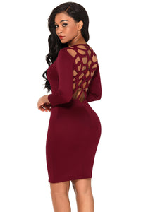 Sexy Burgundy Hollow-out Back Long Sleeve Bodycon Dress