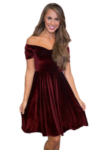 Sexy Burgundy Velvet Off Shoulder Pleated Skater Dress
