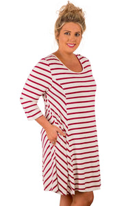 Sexy Burgundy White Stripes Relaxed Curvy Dress