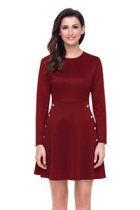 Sexy Button Side Detail Burgundy Military Skater Dress