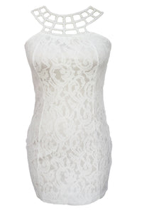 Sexy Caged Round Neck White Lace Mini Dress