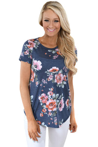 Sexy Charcoal Short Sleeve Round Neck Floral Printed Womens T-shirt