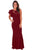 Sexy Claret Ruffle Sleeve Crochet Top Maxi Evening Dress
