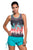 Sexy Colored Botanic Print Mesh Splice Tankini Top