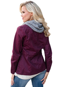 Sexy Contrast Hooded Plum Hiking Jacket
