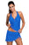 Sexy Contrast Trim Royal Blue Halter Tankini Skort Swimsuit