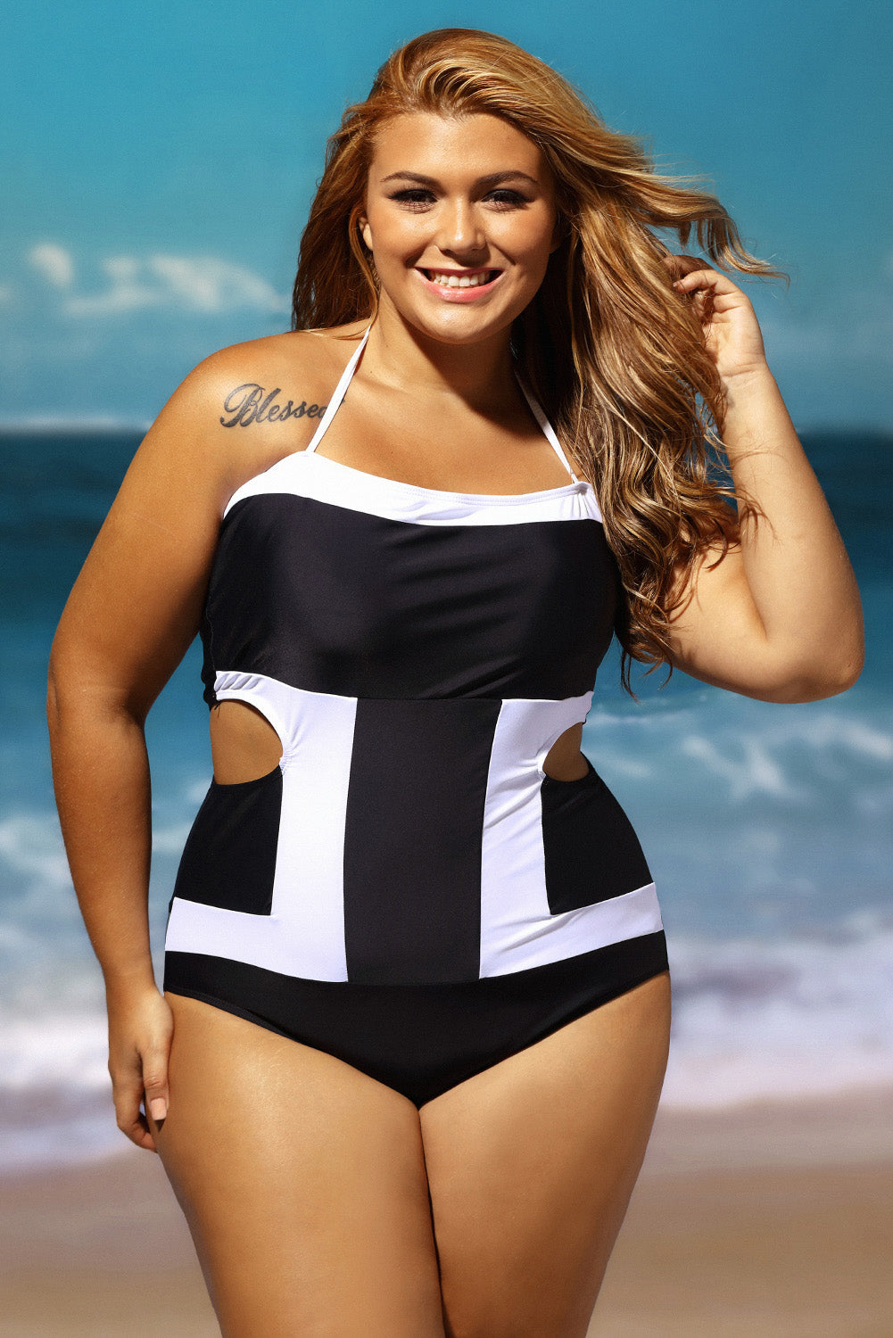 9c36f1f4db Sexy Contrast White Detail Cutout 1pc Plus Size Swimsuit – SEXY ...