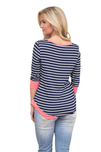 Sexy Coral Trim Accent Striped Side Button Blouse