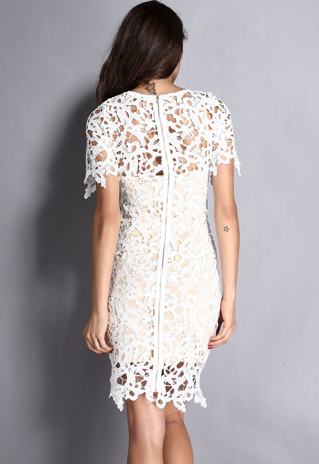 c423d7b7d56 Sexy Cream White 2pcs Hollow-out Lace Midi Dress – SEXY AFFORDABLE ...