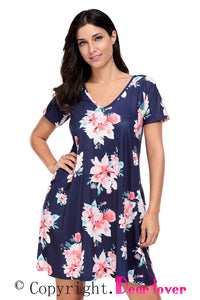 Sexy Dark Blue Pocket Design Summer Floral Shirt Dress