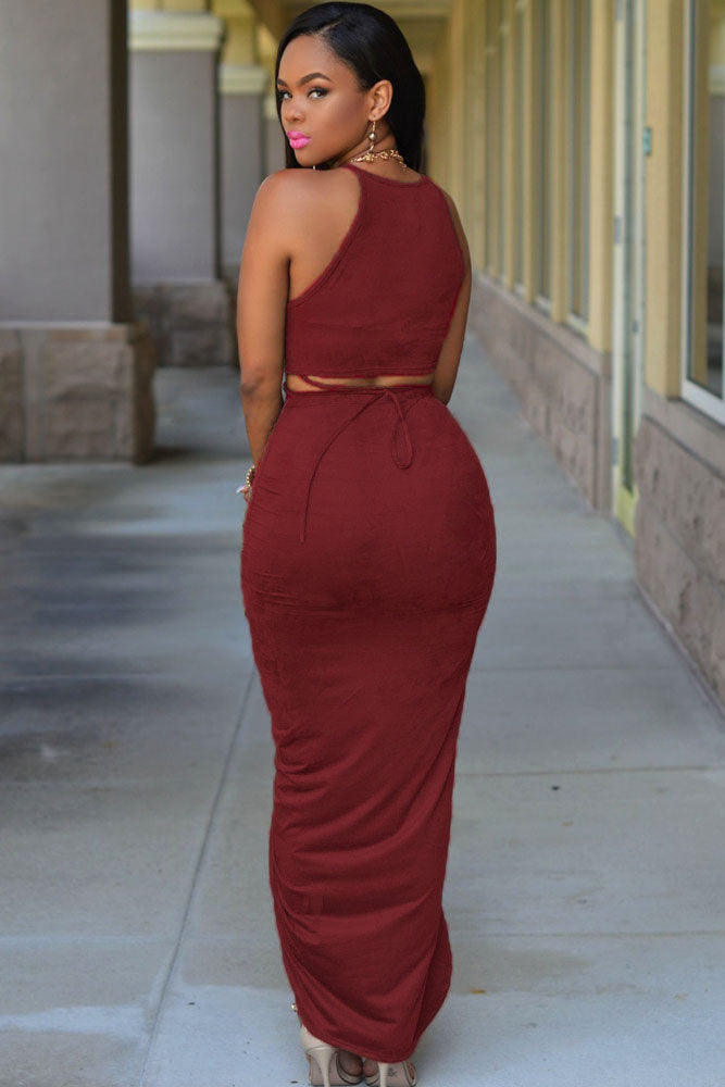 98023e0270 Sexy Date Red Cotton Two Piece Maxi Skirt Set – SEXY AFFORDABLE CLOTHING